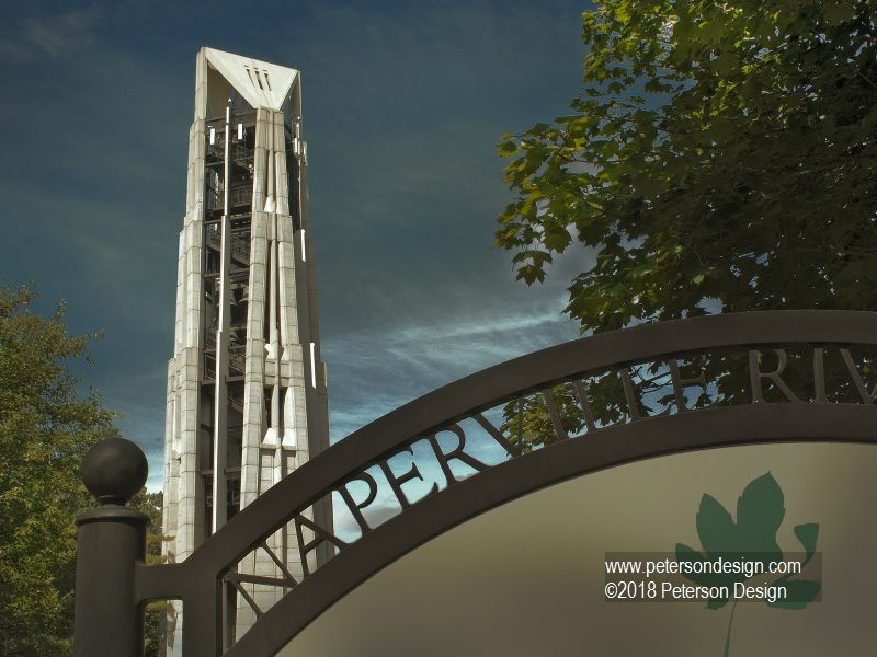 Image of Naperville Millennium Tower with Naperville Park District Welcome Sign