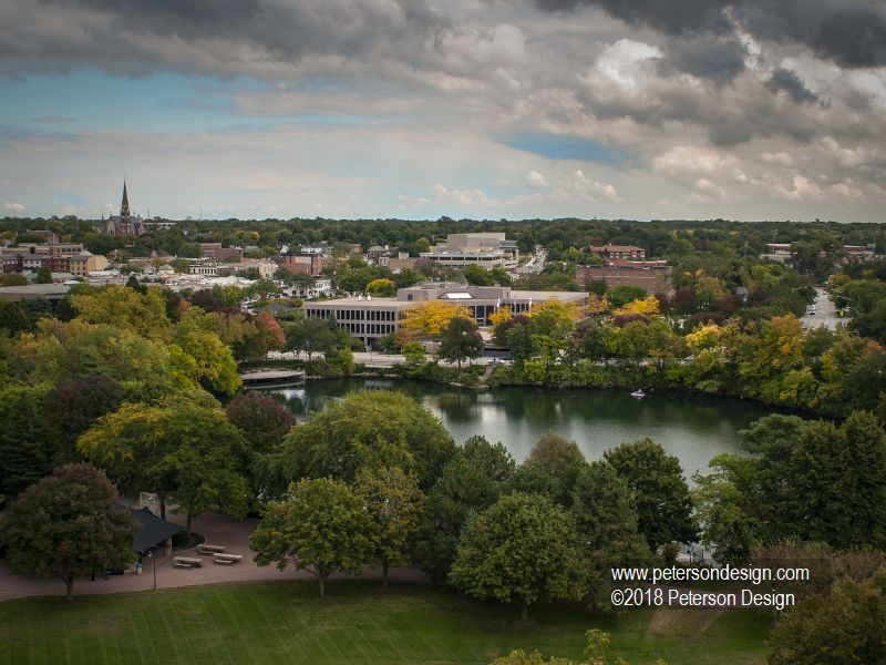 Aerial view from atop Naperville's Carrilon Bell Tower